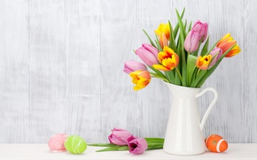Wallpaper flowers, Easter, tulips, happy, pink, flowers, tulips, spring, Easter, eggs, decoration, pink tulips, the painted ...