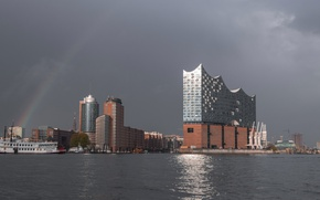 Picture ship, home, rainbow, Germany, Hamburg, harbour, The Elbe Philharmonic hall