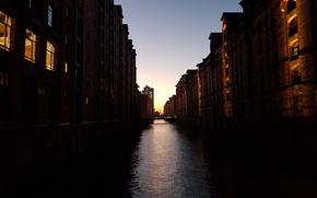 Picture night city, germany, Hamburg, hamburg