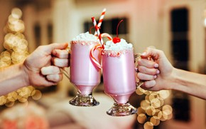 Picture hands, milk, cream, cocktail, bokeh
