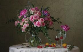 Wallpaper glass, bouquet, roses, apricot, raspberry