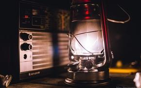 Picture lamp, radio, kerosene stove, loft