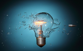 Picture light bulb, fragments, speed, bullet, base