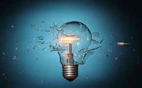 Picture light bulb, fragments, speed, bullet, base