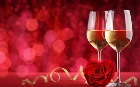 Wallpaper bokeh, background, love, glasses, roses, champagne, valentine's day, romantic, red
