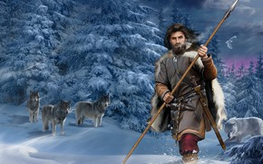 Picture Forest, Spruce, Sword, Male, Wolves, Spear, Snow