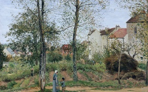 Wallpaper Camille Pissarro, people, trees, home, Landscape near Louisiana, picture