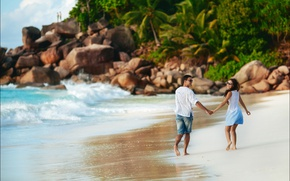 Picture stones, the ocean, girl, pair, boulders, shore, romance, guy, wave, palm trees