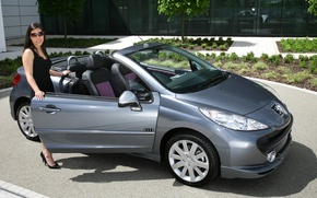 Picture auto, look, girl, Girls, Peugeot 207