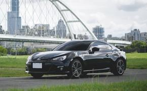 Picture Subaru, City, bridge, Black, BRZ