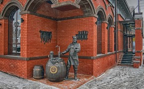 Picture the city, house, style, beer, man, Winter, monument, steps, bricks, barrel, barrels, entrance, cancers