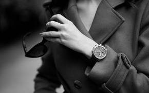 Picture girl, watch, glasses, black and white, coat