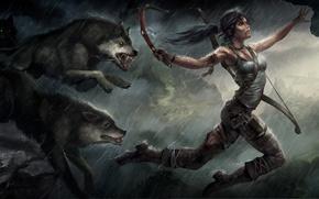 Picture animals, girl, gun, weapons, rain, jump, figure, bow, art, wolves, Tomb Raider, Lara Croft, Lara …