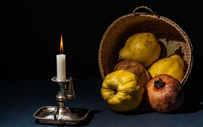 Picture candle, fruit, still life