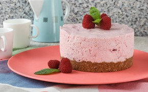 Picture berries, raspberry, cake, cream