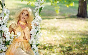 Picture the sun, flowers, swing, makeup, garden, dress, hairstyle, blonde, outfit, decoration, bokeh