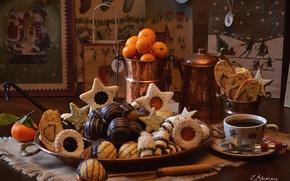 Picture coffee, cookies, tangerines
