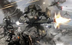 Picture fire, flame, gun, armor, mecha, weapon, war, fight, machine gun, spark, combat, heavy weapon