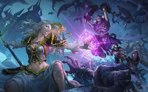 Picture demon, sake, game, Warcraft, monster, weapon, fight, bones, oni, Hearthstone: Heroes of Warcraft, bakemono, Knights …