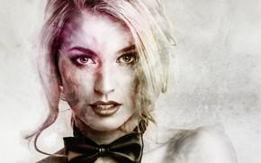 Picture girl, butterfly, portrait, blonde, tie