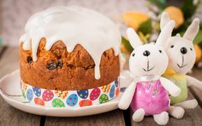 Wallpaper toys, Easter, rabbits, cake