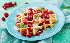 Picture berries, raspberry, powdered sugar, Waffles
