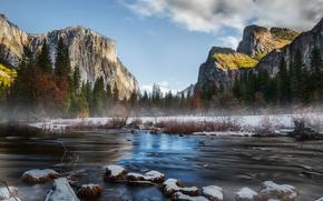 Picture mountains, river, stones, Yosemite