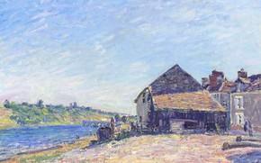 Picture bridge, house, river, picture, Alfred Sisley, Alfred Sisley, Landscape near the Sea-sur-Luena