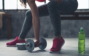 Wallpaper Fitness, physical exercise, water, dumbbell, gym, woman