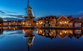 """Wallpaper night, Netherlands, Netherlands, North Holland, lights, Mill """"De Adriaan"""", Holland, Haarlem"""