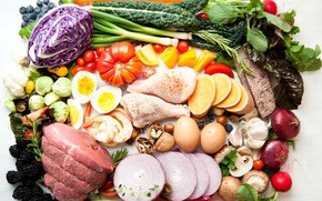 Picture berries, mushrooms, eggs, bow, meat, nuts, vegetables, tomatoes, cabbage, radishes
