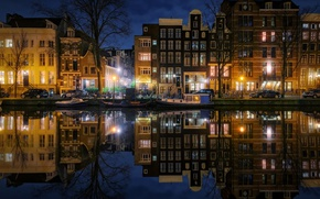 Picture night, the city, lights, the evening, Amsterdam, channel, Netherlands