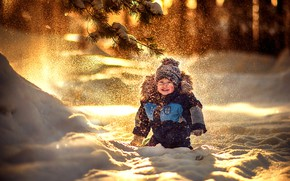 Picture winter, snow, joy, spruce, boy