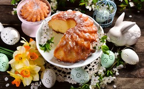 Picture eggs, Easter, Bunny, cake, daffodils