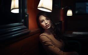 Picture lights, girl, long hair, dress, photo, photographer, model, lips, face, brunette, portrait, mouth, dark eyes, …