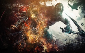 Picture death, horse, war, braid, Raven, brothers, riders, Darksiders, War, Death, horseman of the Apocalypse, THQ ...