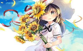 Wallpaper sunflowers, flowers, anime, girl