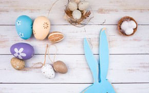 Picture eggs, feathers, Easter, socket, Holiday, wooden background, Bunny