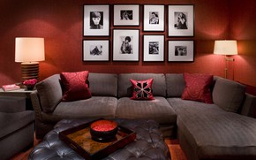 Picture room, sofa, lamp, pillow, photos