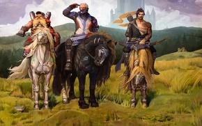 Picture horses, heroes, soldier, blizzard, fan art, Hanzo, three heroes, overwatch, Torbjörn, Jack Morrison, Hanzo Shimada, …