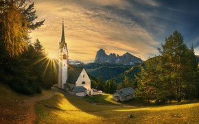 Wallpaper sunset, Italy, South Tyrol, South Tyrol, Italy, Church. James, Ortisei, The Dolomites, trees, Church, St. ...