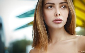 Wallpaper redhead, Sue, Alexander Drobkov-Light, bokeh, makeup, hairstyle, beauty, portrait