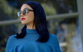 Picture girl, face, glasses, jacket, Camila Mendes