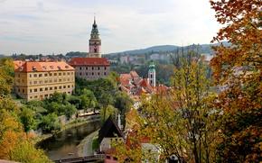 Picture autumn, trees, branches, bridge, the city, home, Czech Republic, river, Cesky Krumlov, Cesky Krumlov