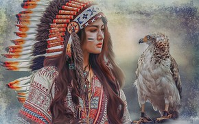 Wallpaper bird, painting, feathers, girl Indian