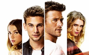 Wallpaper face, four, white background, Thriller, action, poster, characters, Gaia Weiss, Scott Eastwood, Scott Eastwood, Ana ...