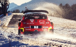 Picture Red, Winter, Auto, Snow, Sport, Machine, Race, Citroen, Citroen, Car, WRC, Rally, Rally, Rallye Monte-Carlo, …