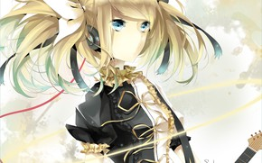 Picture look, girl, anime, art, Vocaloid, Vocaloid, Kagamine Rin