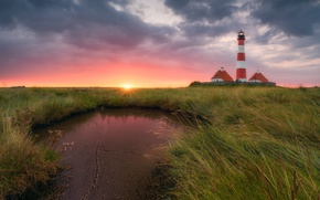 Picture grass, water, the sun, clouds, light, lighthouse, home