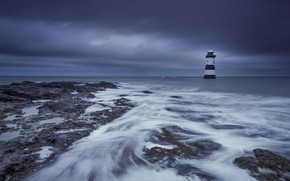 Picture coast, lighthouse, Wales